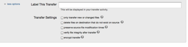 Figure 3: Changing the default transfer behavior