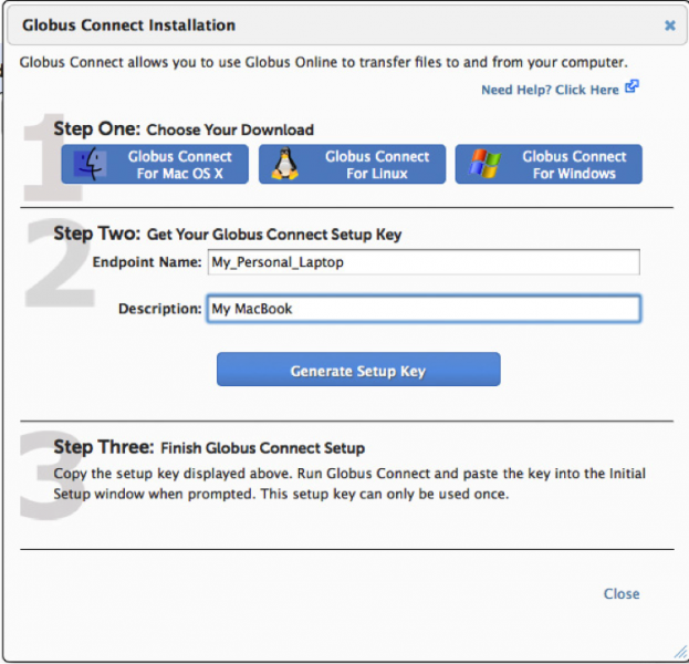Figure 5: Setup a Globus Connect endpoint